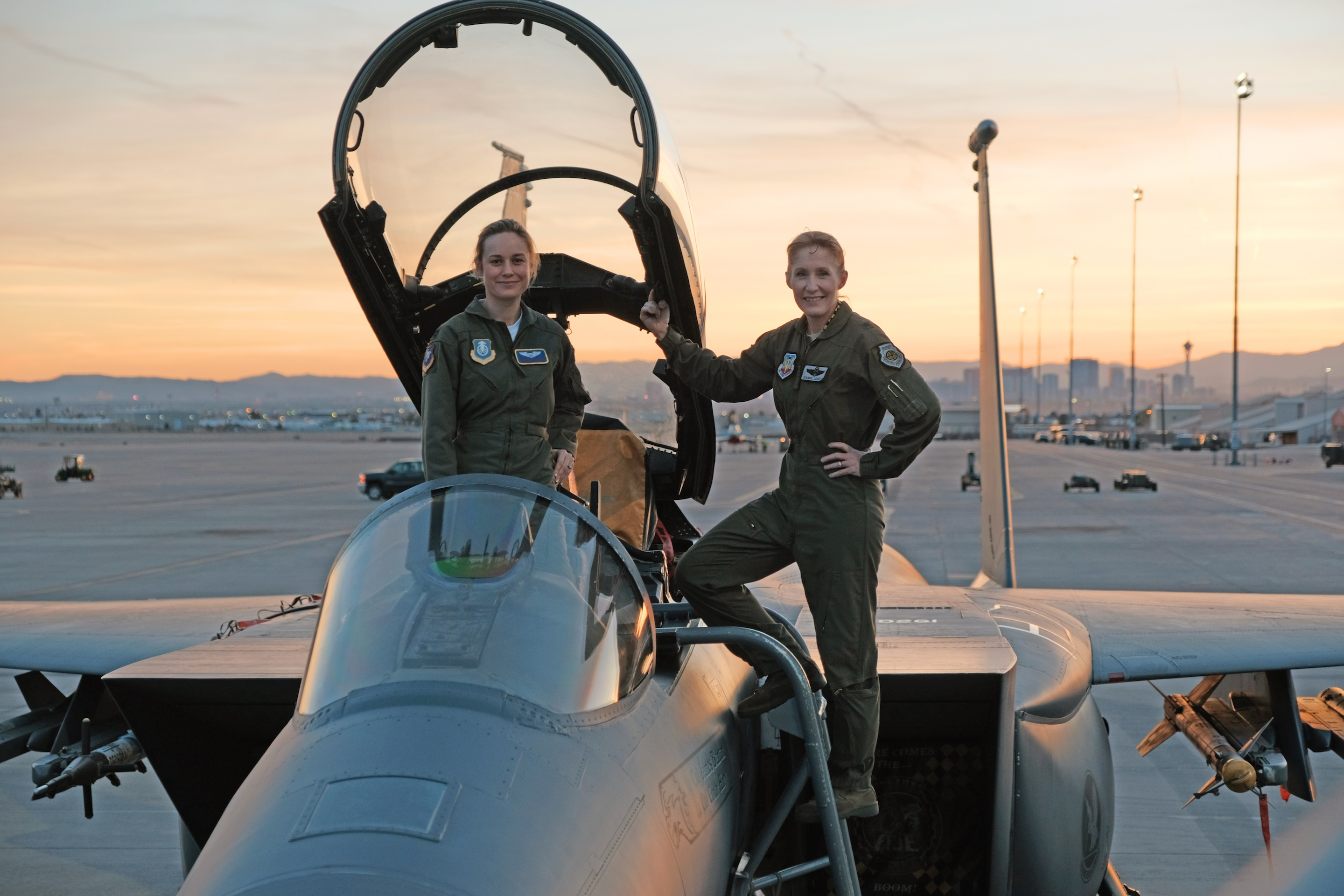 Brie Larson at Nellis Air Force Base as part of her research for Captain Marvel