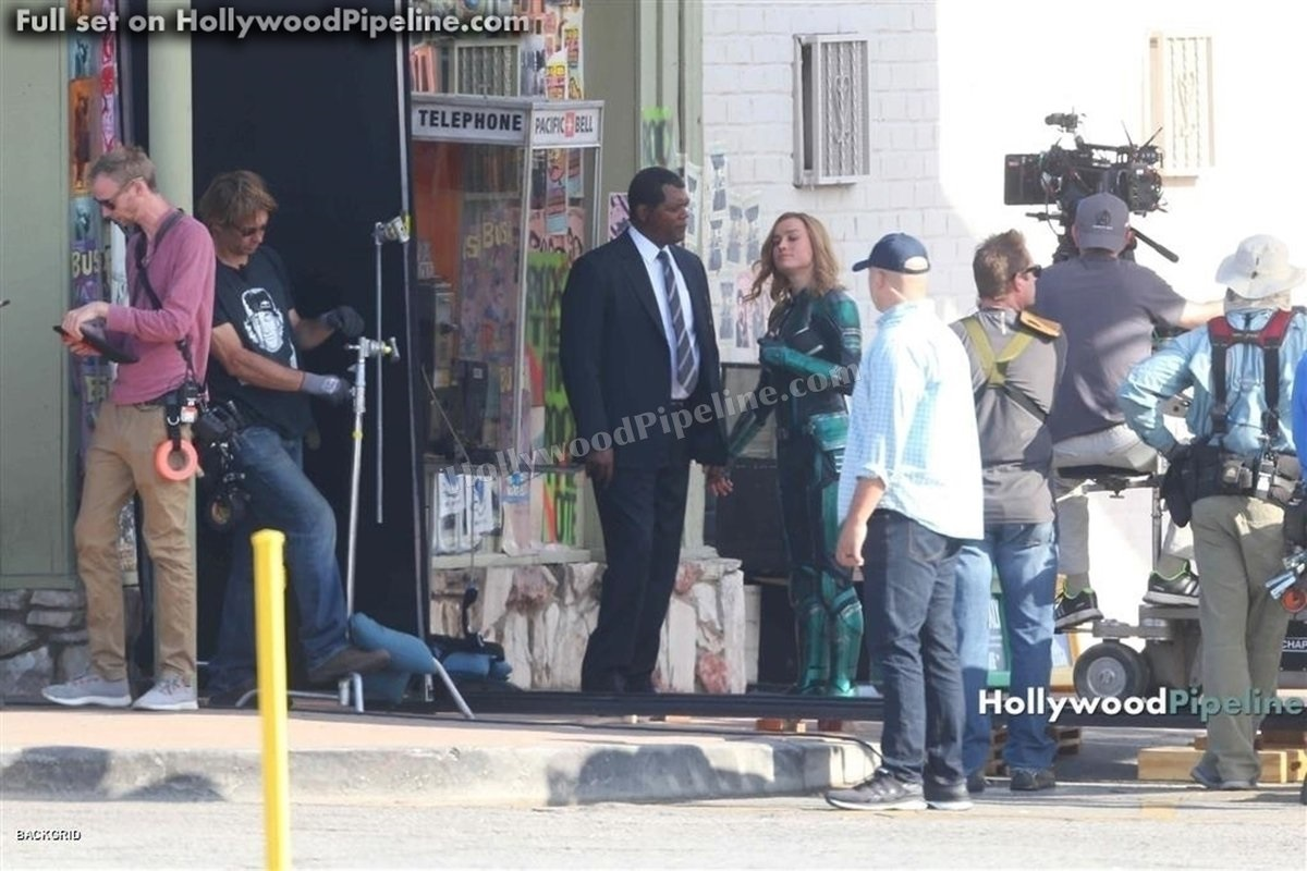 Brie Larson and Samuel L. Jackson on the set of Captain Marvel