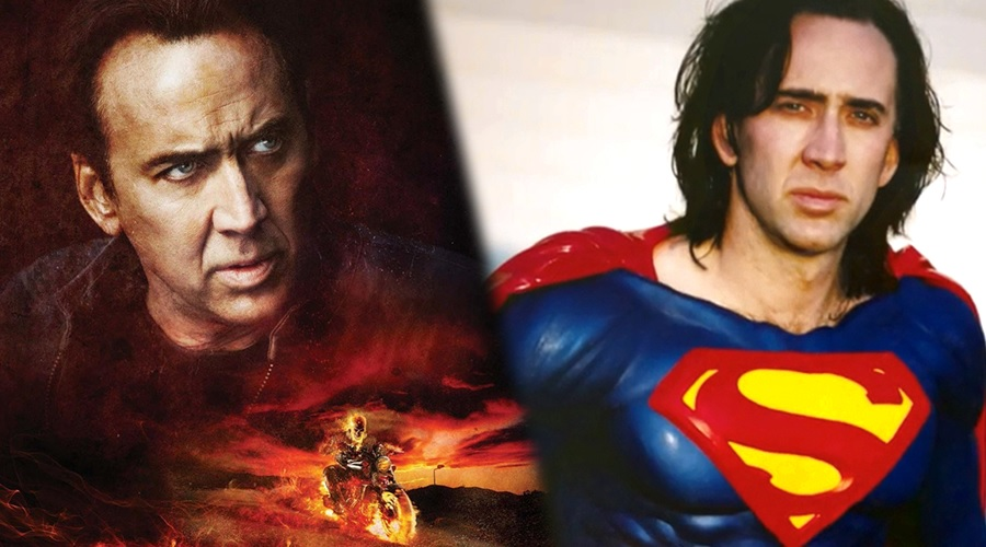 Nicolas Cage played Ghost Rider in two movies and was also cast as the lead of the abandoned Superman Lives project!