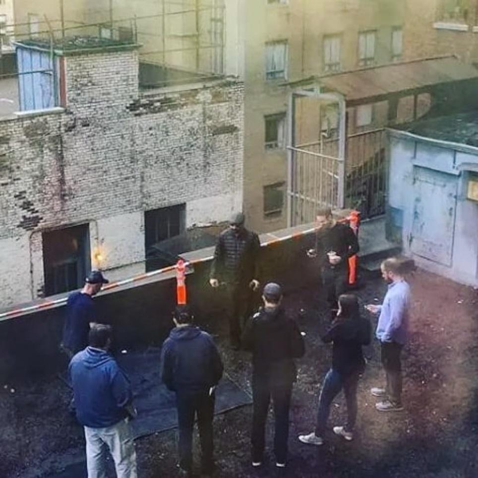 Daredevil Season 3 set photo featuring Charlie Cox
