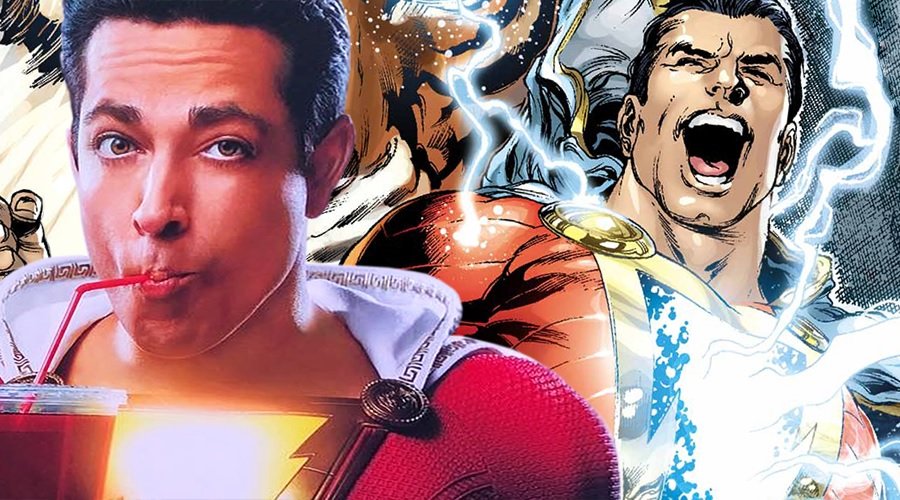 The first promotional banner for Shazam! finds the superhero savoring a large soft drink!