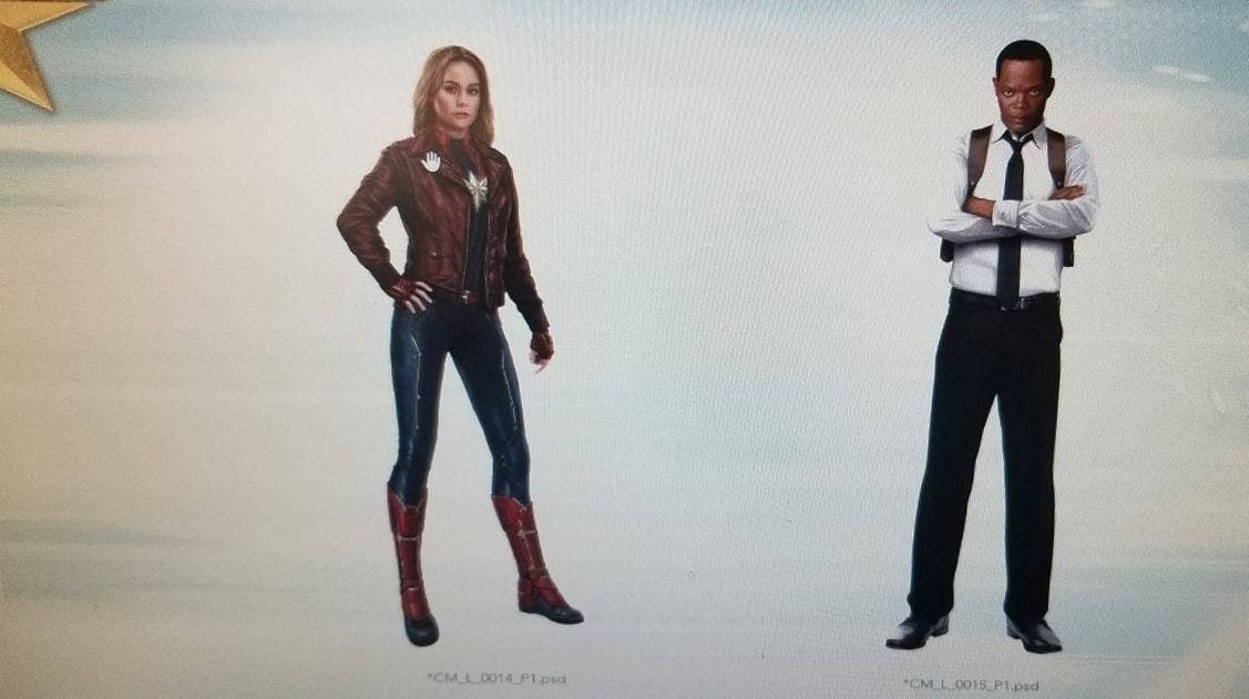 Captain Marvel and a younger Nick Fury
