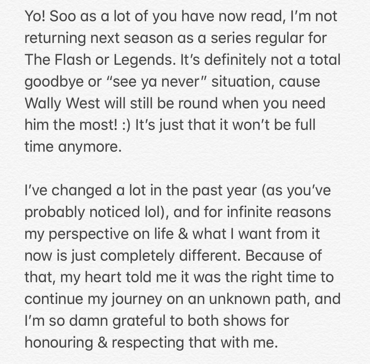 Part 1 of Keiynan Lonsdale's message about his Legends of Tomorrow departure