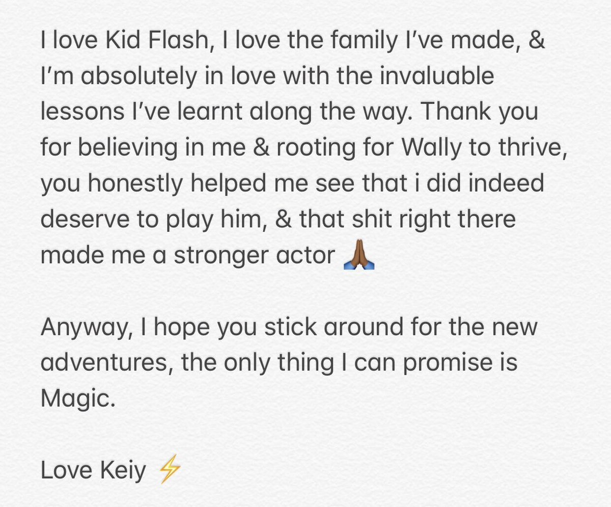 Part 2 of Keiynan Lonsdale's message about his Legends of Tomorrow departure