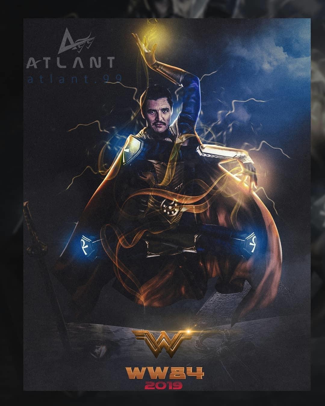 Wonder Woman 2 fan art depicting Pedro Pascal as Doctor Fate
