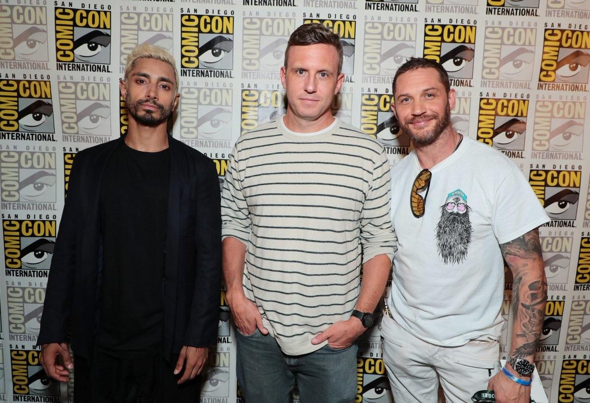 Riz Ahmed and Tom Hardy with Venom director Ruben Fleischer