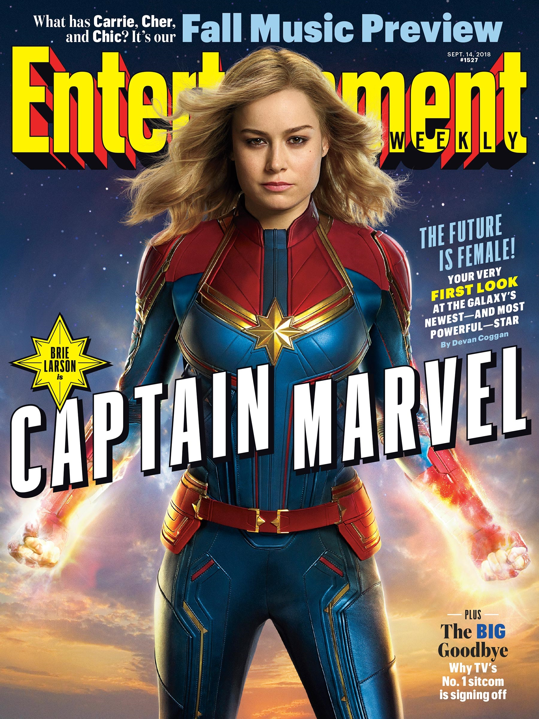 Magazine cover featuring Brie Larson as Captain Marvel
