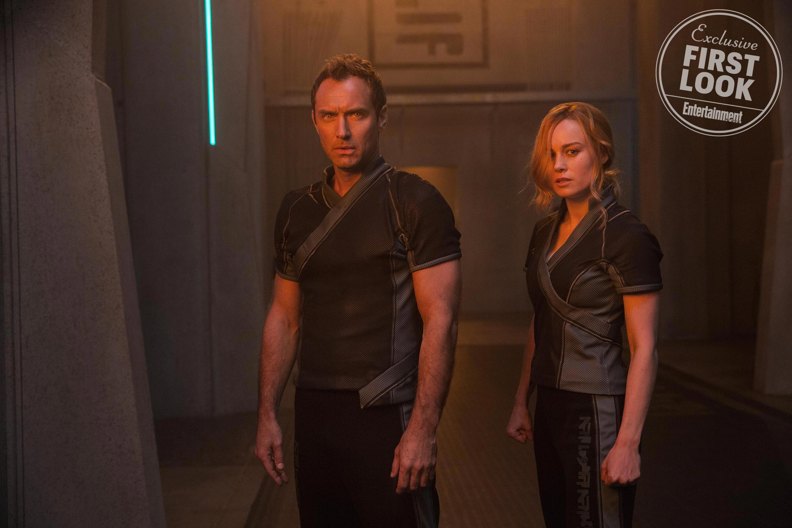 Jude Law as Mar-Vell and Brie Larson as Carol Danvers
