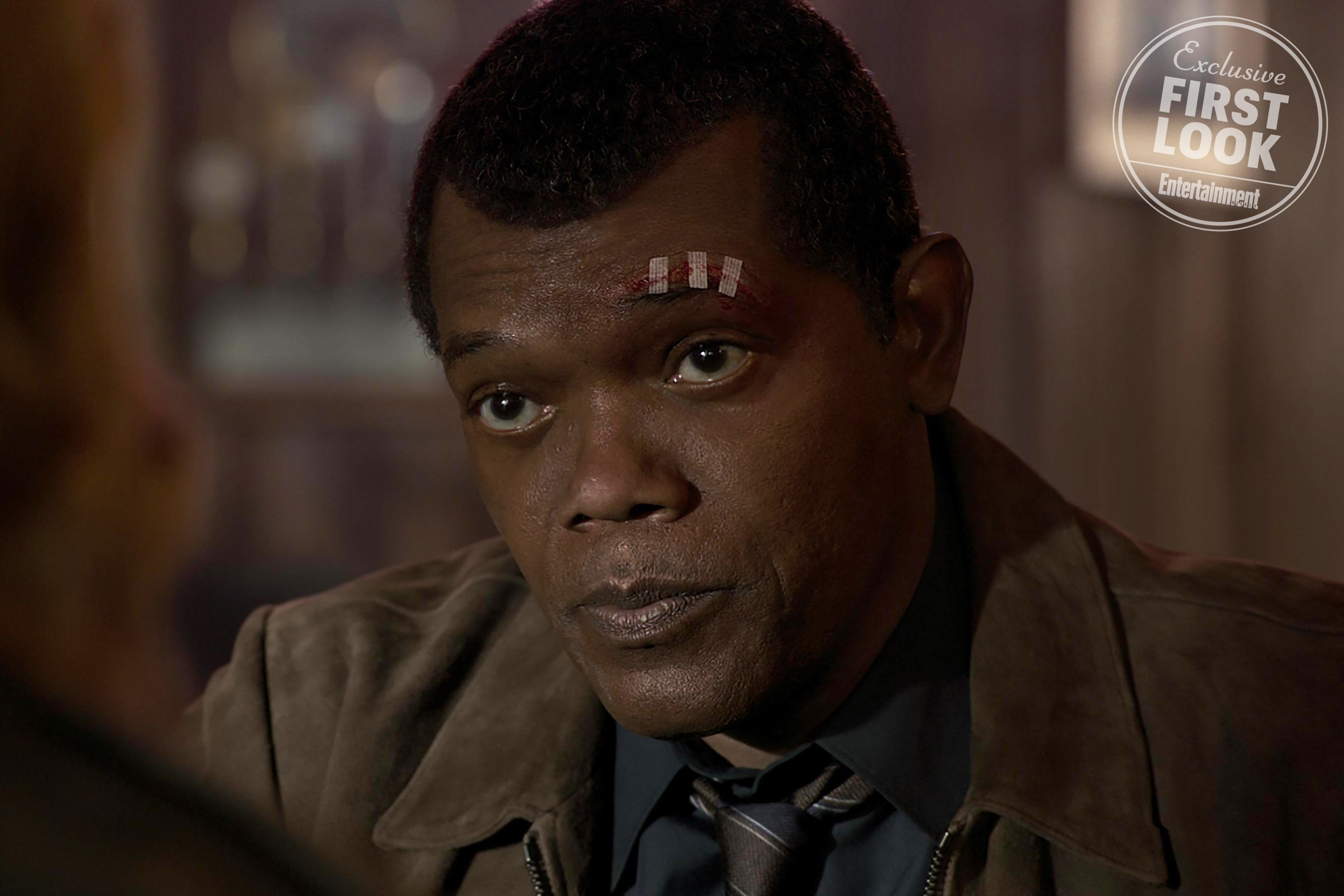 Samuel L. Jackson as a younger Nick Fury