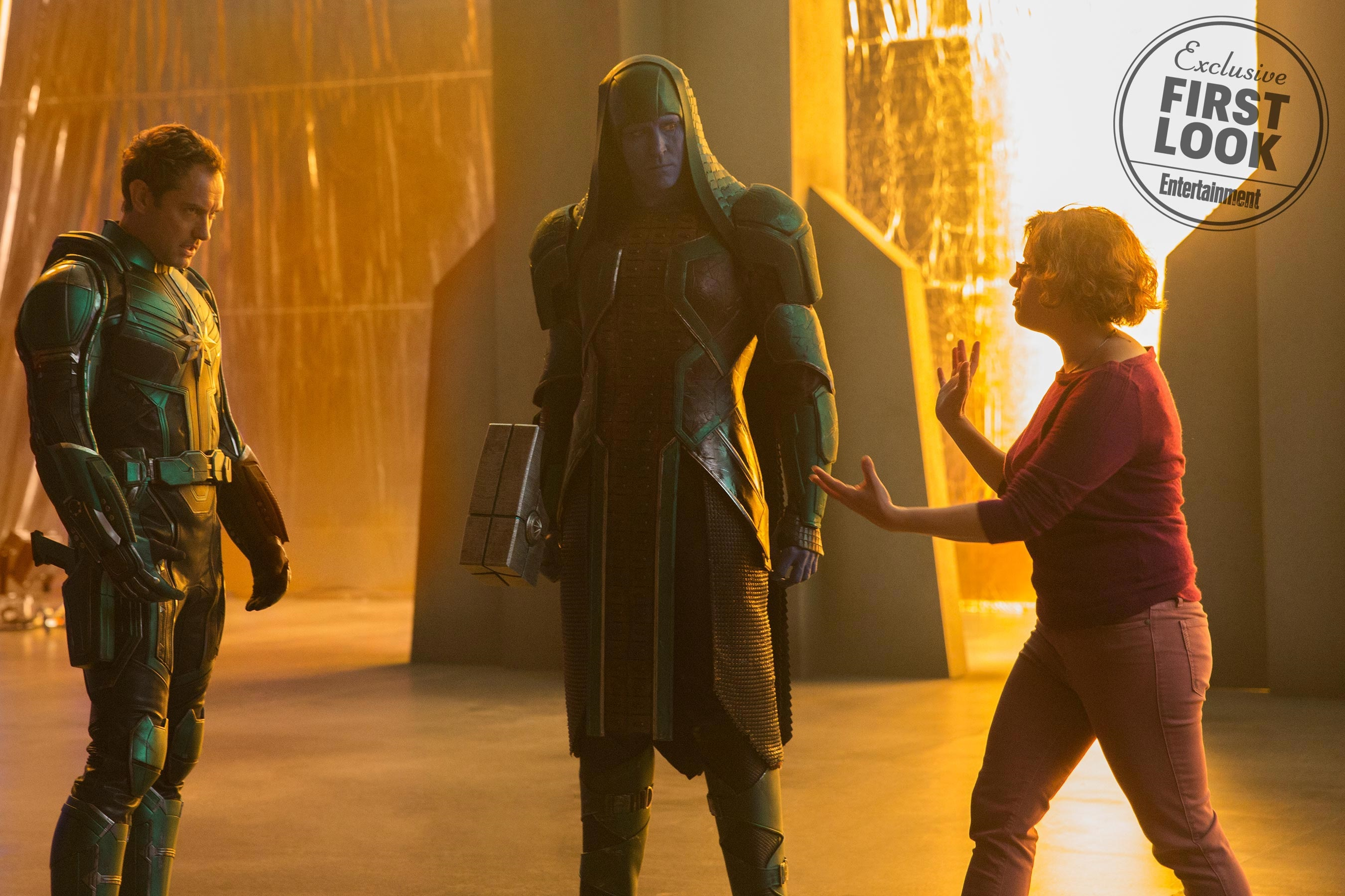 Jude Law as Mar-Vell and Lee Pace as Ronan the Accuser with co-director Anna Boden