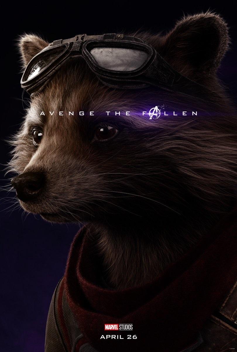 Endgame character poster for Bradley Cooper's Rocket Raccoon