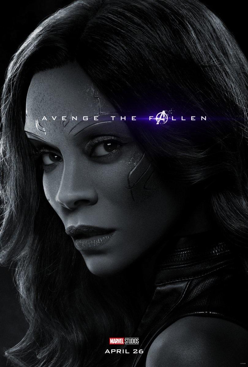 Endgame character poster for Zoe Saldana's Gamora