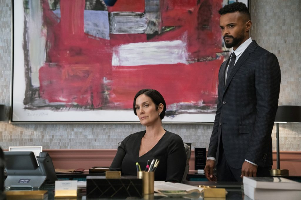 Carrie-Anne Moss' Jeri Hogarth and Eka Darville's Malcolm Ducasse