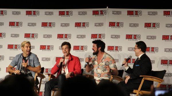 Antony Starr, Jack Quaid, Karl Urban from The Boys, with moderator Moises Chiullan.